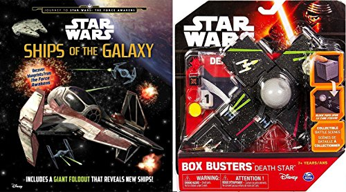 Star Wars Ships of the Galaxy Journey & Box Busters Death Star Mini Spaceship Set + Action Bundle 2-Pack
