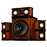 Swan Speakers - M20-5.1 - 5.1 Powered Bookshelf Speakers - Wooden Cabinets - 65W RMS  8'''' Subwoofer - Powerful Bass - Compact Luxurious Home Theater - Remote Control