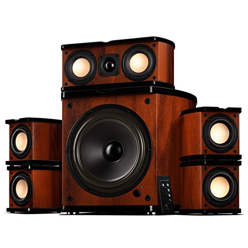 "Swan Speakers - M20-5.1 - 5.1 Powered Bookshelf Speakers - Wooden Cabinets - 65W RMS 8"""" Subwoofer - Powerful Bass - Compact Luxurious Home Theater - Remote Control"