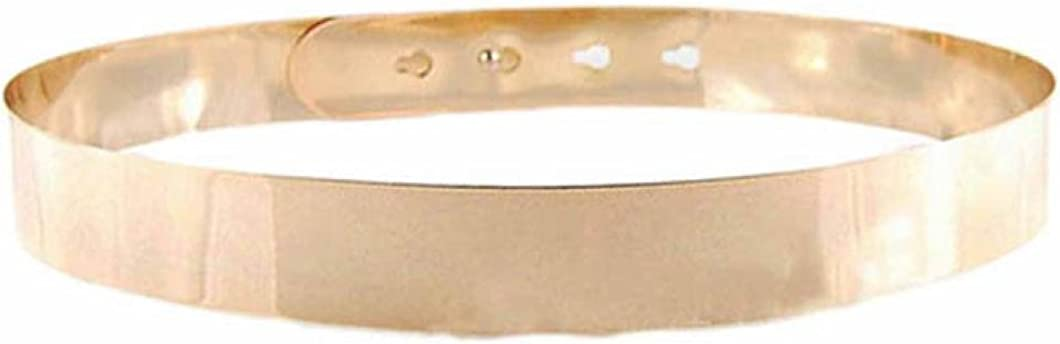 Toraway Belts, Fashion Punk Full Metal Mirror Waist Belt Metallic Buckle Adjustable Waist Belt