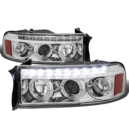 For 94-02 Dodge Ram BR/BE Chrome Housing Amber Corner Dual Halo Projector LED Headlight Kit