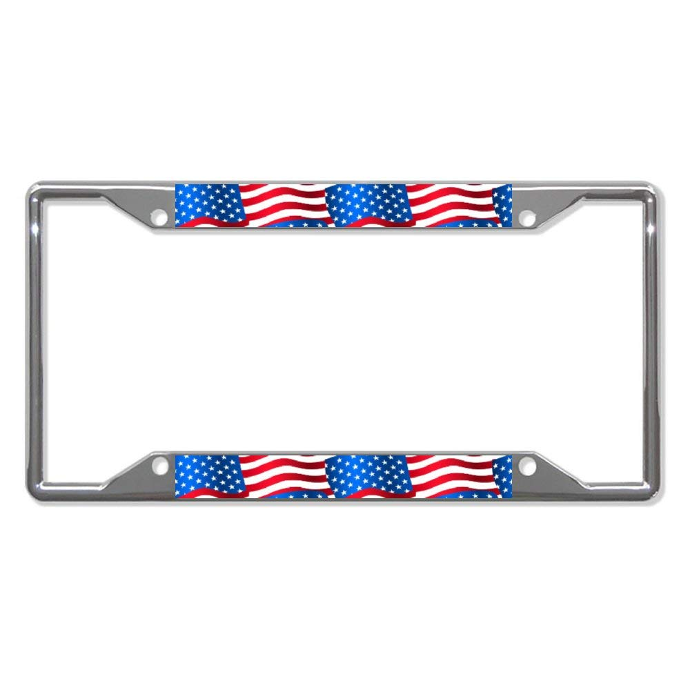 12X6 For Universal Cars Chrome Metal Auto License Plate Frame Tag Holder Frame Cover Usa Flags Car License Plate Frame