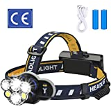 ELMCHEE Rechargeable headlamp, 6 LED 8 Modes 18650 USB Rechargeable Waterproof Flashlight Head Lights for Camping, Hiking, Outdoors
