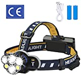 Rechargeable headlamp,Elmchee 12000 Lumen 6 LED 8 Modes 18650 USB Rechargeable Waterproof Flashlight Head Lights for Camping, Hiking, Outdoors