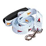 Yellow Dog Design Dawg Seersucker Blue with Multi Flags Dog Leash with Comfort Grip Handle-Large-1'' 5' x 60'' Made in the USA
