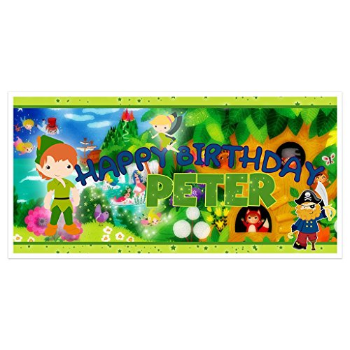 (Fairy Tales Peter Pan Birthday Banner Personalized Backdrop)