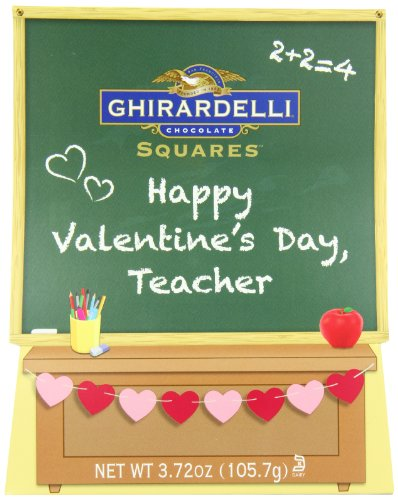Ghirardelli Valentine's Chocolate Squares, Teacher's Chalkboard Gift,  3.72-Ounce Chalkboard Gift Box