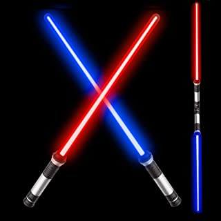 "OPASDH Laser Sword Light Up Saber 2-in-1 Led FX Dual Bladed Set with Sound (Motion Sensitive) and 7 Colors, Stocking Idea, Xmas Presents, Galaxy War Fighters and Warriors - 26"""" (2 Pack)"