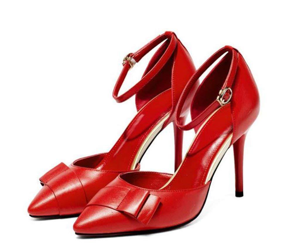 Oudan Mit Flachen Bogen Ausgehöhlten High Heels,Rot,37 (Farbe   Wie Gezeigt, Größe   Einheitsgröße)