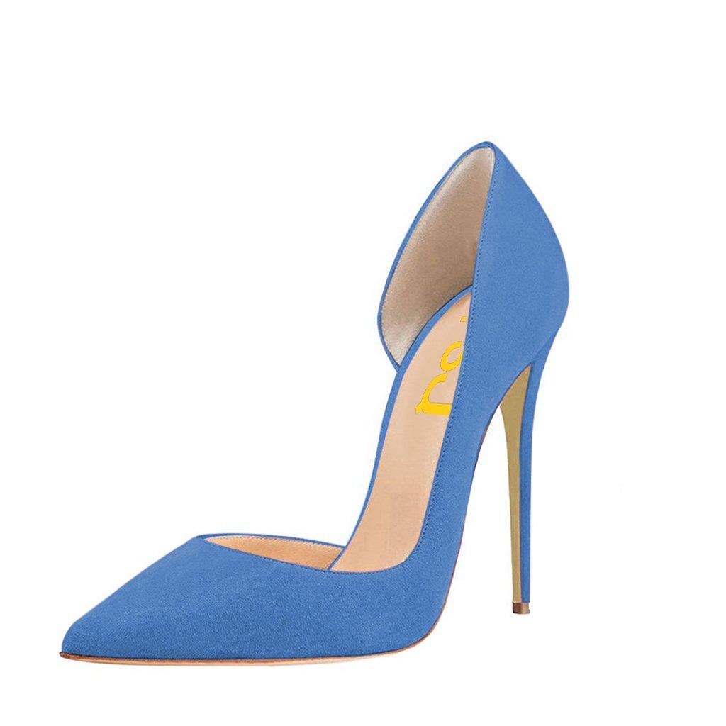 FSJ Women Formal Dress Shoes Pointed Toe D'Orsay High Heels Sexy Stiletto Pumps Size 7 Royal Blue by FSJ