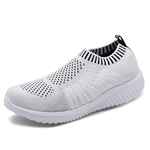 KONHILL Women's Lightweight Casual Walking Athletic Shoes Breathable Mesh Running Slip-On Sneakers, White, 43