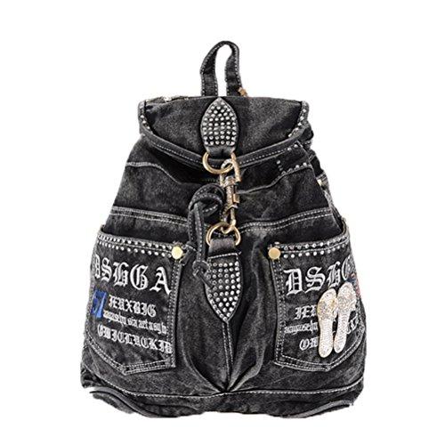 Donalworld Women Rivet Drawsring Hiking Backpack Jeans Denim Book Shoulder Handbags Bblack