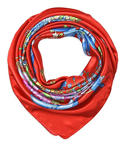 Large Square Satin Silk Like Lightweight Scarfs Hair Sleeping Wraps for Women Ferrari Red ()