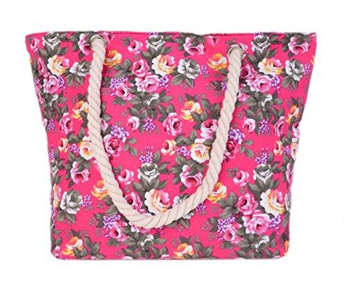 Bebelle Bolsos totes mujer bolso de la lona de las mujeres Travel Top Handle Bag Bohemia bolso de hombro de gran tamaño Holiday Beach Bag Shopping Bag Varios Colores-6