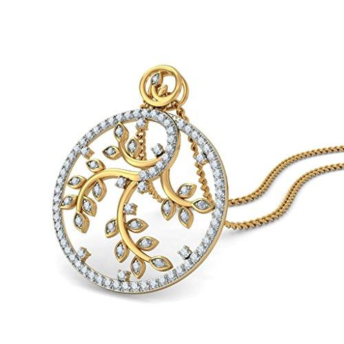 Or jaune 18K 1,02CT TW Round-cut-diamond (IJ   SI) Pendentif