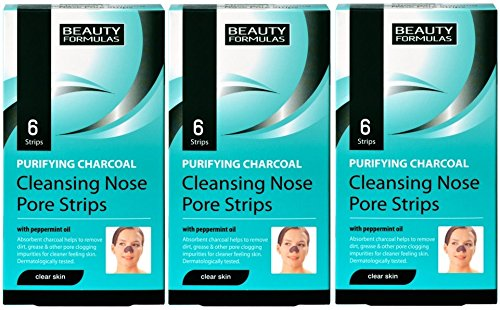 Beauty Formulas Deep Cleansing Charcoal Nose Pore Strips (3 x 6 pack) Blackhead Removal