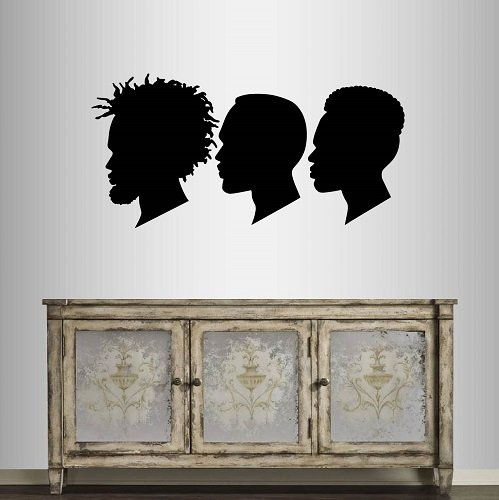Wall Vinyl Decal Home Decor Art Sticker African American Men with Afro Hair Profile Fashion Hairstyle Salon Room Removable Stylish Mural Unique Design 2426 ()