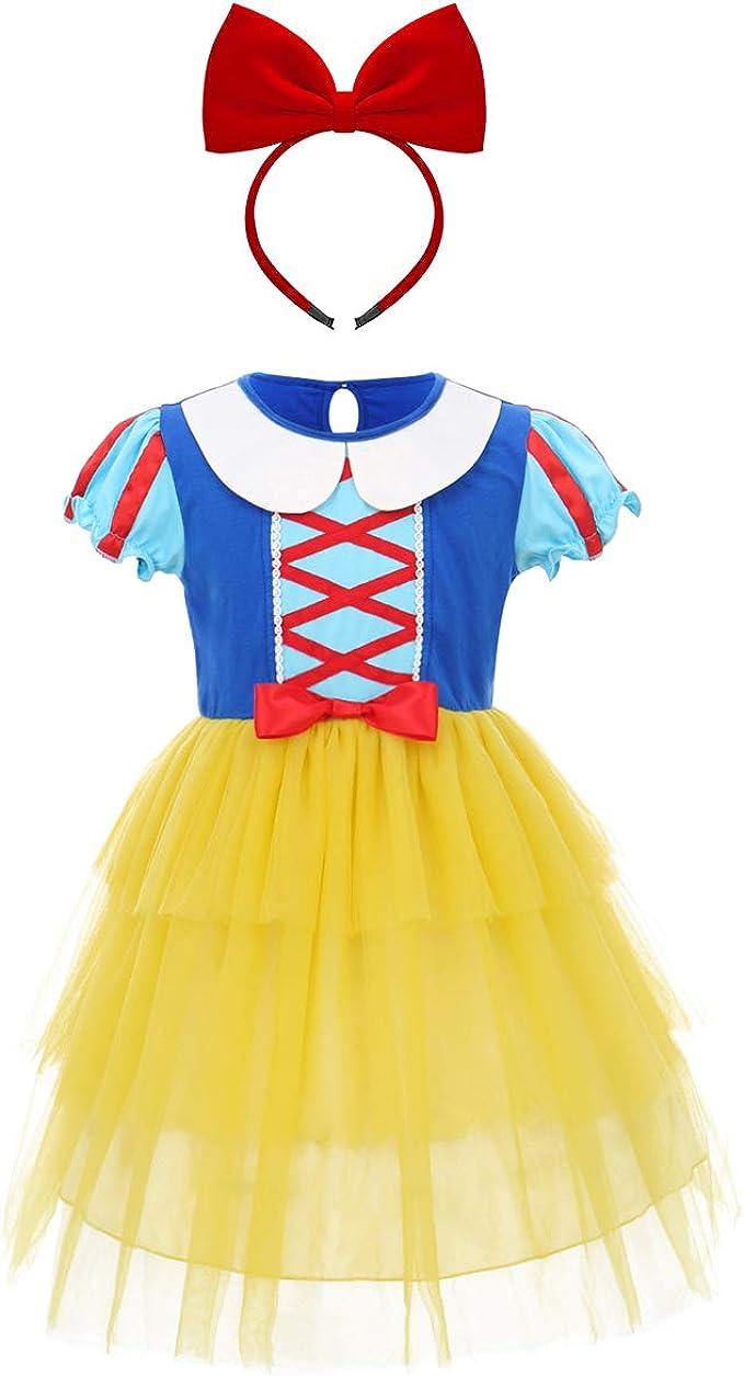 OwlFay Niñas Disfraz de Blancanieves Vestido de Princesa con ...