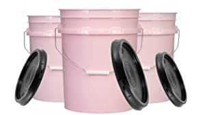 House Naturals 5 Gallon Pink Food Grade Bucket Pail with Lid (Pack of 3) BPA Free containers -Made in USA