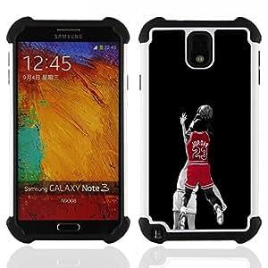 """SAMSUNG Galaxy Note 3 III / N9000 / N9005 - 3 en 1 impreso colorido de Altas Prestaciones PC Funda chaqueta Negro cubierta gel silicona suave (23 Bulls Basketball"""")"""