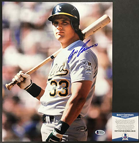 BASH BROTHERS!!! Jose Canseco Signed OAKLAND A'S 11x14 Photo #1 Beckett BAS