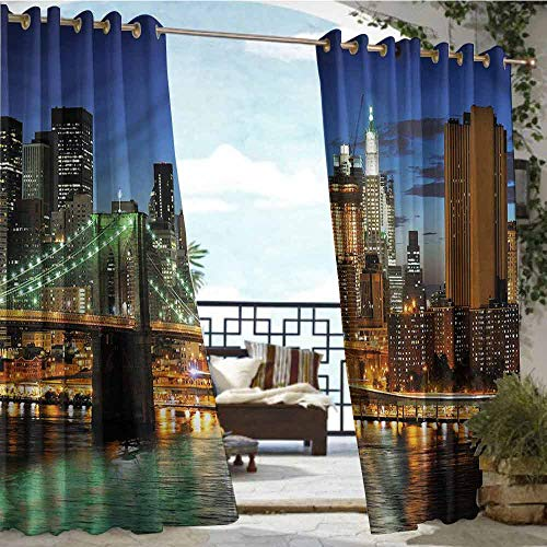 Patio Curtains City,New York at Night Bridge,W72 xL96 Outdoor Curtain Waterproof Rustproof Grommet Drape