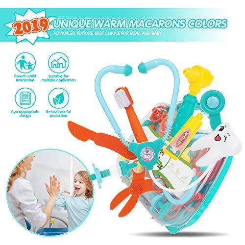 Peradix Juegos de médicos,maletin Doctora Juguete 41 Piezas Maletin Medicos Juguete Doctor y Enfermería Dentista Clínica Dental Juego de rol Regalos Set Medicos Juguetes para 3 años Multijugador