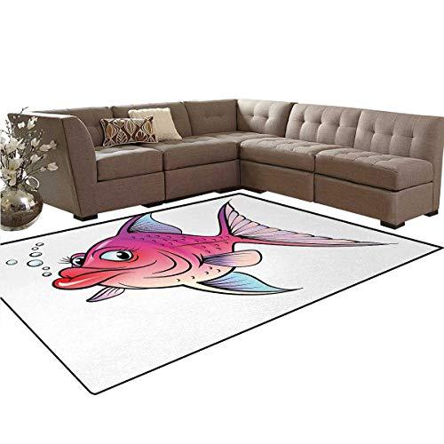 Fish,Rug,Cartoon Style Smiling Female Goldfish with Plump Lips Underwater Comic,Home Decor Floor Carpet,Hot Pink Fuchsia Purple,5'x6' -