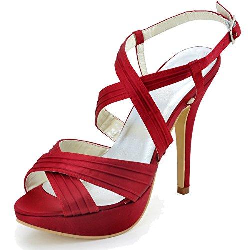 Pleated Platform High Heel - ElegantPark EP2123-PF Burgundy Women's Open Toe Platform Stiletto High Heel Pleated Slingback Buckles Satin Bridal Sandals US 8