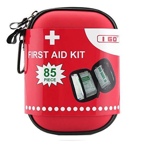 I GO Compact First Aid Kit - Hard Shell Case for Hiking, Camping, Travel, Car - 85 Pieces (Swiss Safe 2 In 1 First Aid Kit)