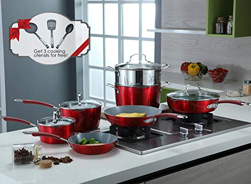 Momscook Aluminum Nonstick Ceramic Coating Cookware Set with Three Nonstick-Suitable Nylon Cooking Tools, 14-Piece, Cranberry Red