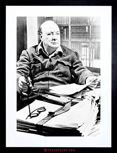 VINTAGE PHOTO PORTRAIT WINSTON CHURCHILL PRIME MINISTER UK FRAMED PRINT - Churchill Winston Glasses