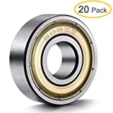 608 bearing sealed - 20-Pack 608 ZZ Ball Bearings , 608zz Metal Double Shielded Miniature Deep Groove Skateboard Ball Bearings (8mm x 22mm x 7mm)