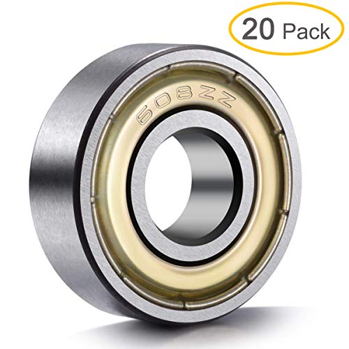 - 20-Pack 608 ZZ Ball Bearings , 608zz Metal Double Shielded Miniature Deep Groove Skateboard Ball Bearings (8mm x 22mm x 7mm)