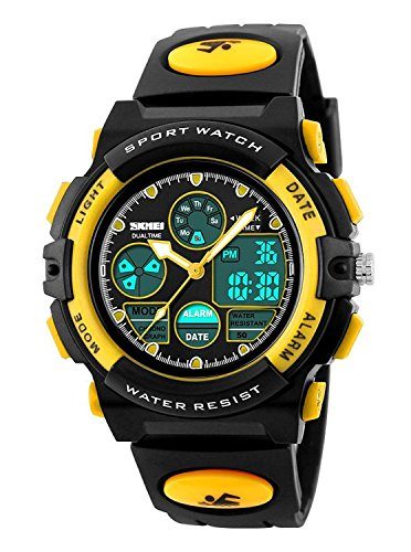 Gosasa Waterproof Swimming Sports Watch Boys Girls Led Digital Watches for Kids, Rubber strap (Yellow) by Gosasa