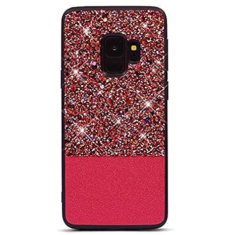 Coque Samsung Galaxy S9 Plus,Glitter Paillettes étui de Protection pour Galaxy S9 Plus Brillant Luxe Ultra Mince TPU Silicone & PU Cuir Hybrid Couverture Fille Coquille Anti Choc Case,Or