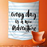Analisahome Home Decor Tapestry by Every Day is a New Adventure Calligraphy Text Watercolor Stripes Print Light Blue Wall Hanging for Bedroom Living Room Dorm