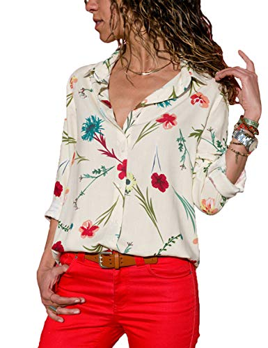luvamia Women's White Floral Print Shirt Long Sleeve Button up V Neck Casual Top Blouse Size L(US (Glamour Print Blouse)