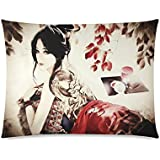 Japanese Art Geisha Girl Rectangle Sofa Home Decorative Throw Pillow Case Cushion Cover Cotton Polyester Twin Side Printing 20 x 26 inches