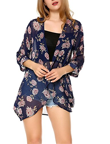 Navy Cardigan Suit (Uniboutique Women's Floral Kimono Summer Beachwear Cover up Boho Chiffon Cardigan Tops Navy Blue S)