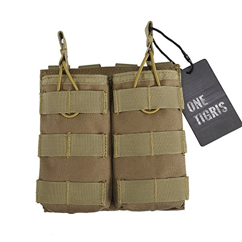 OneTigris Tactical MOLLE Double Open-Top Mag Pouch for AR M4 M16 HK416 magazines (Tan) (Pouch Mag G36)