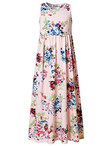 Big Girls Maxi Dresses Ankle Length Floral Pink Dressy Long Dress Size 8 -