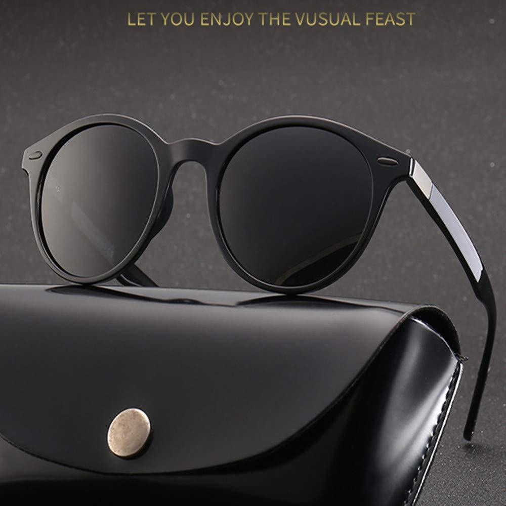 AukCherie Occhiali Tondi da Sole Retro Occhiali da Sole Unisex Occhiali per Gli Uomini e Donne UV400 Polarizadas (nero)