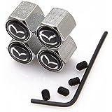 Kartek ® Mazda Black Anti theft Metal Chrome Tyre Valve Dust Cap