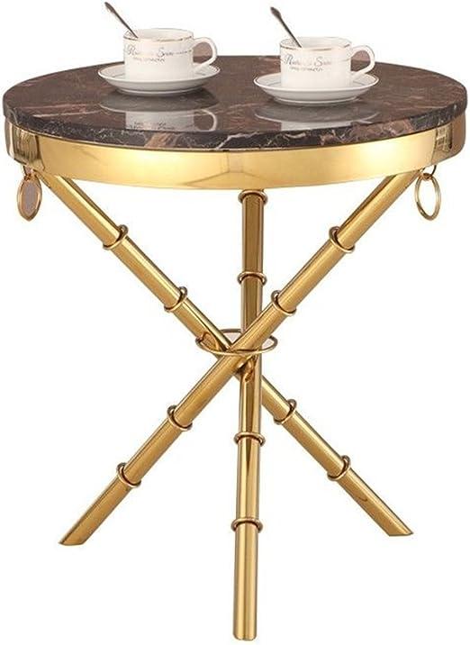 XZG Mesa de centro de oro pequeña mesa redonda Sala de estar de ...