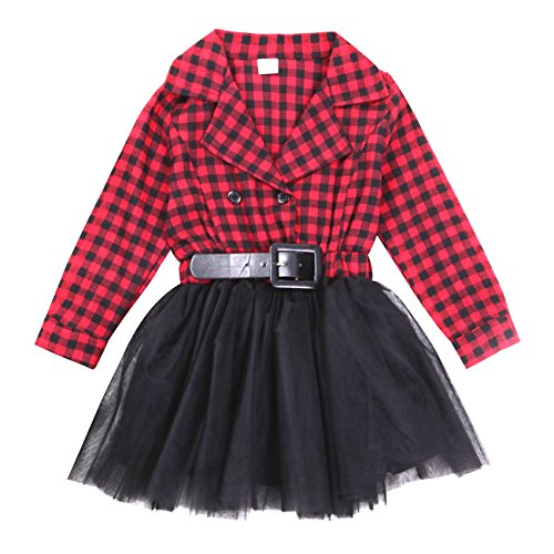 Miward Little Kids Baby Girl Dress White and Black Plaid Tutu Skirt Party Princess Formal Outfit for Chirsmas (tag: 90/2-3 Years, Red) -