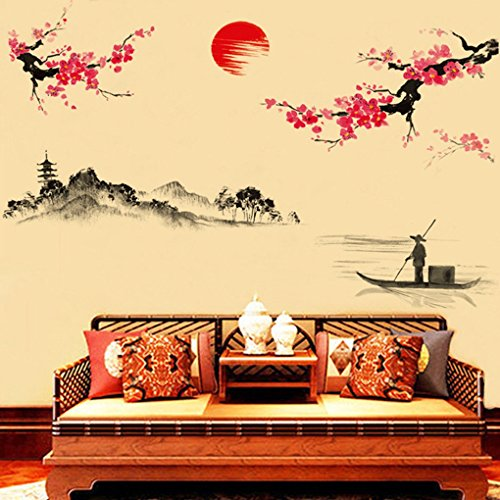 High Quality Hatop Creative Classical Chinese Style Ink Painting Decorative Wall  Stickers Peach