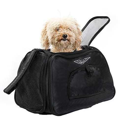 (Kululu Expandable Soft Sided Pet Carrier. Most Airline Approved for Cat, Small Dog and Bunny. Flexible, Lightweight, Well Ventilated and Highly Durable.)