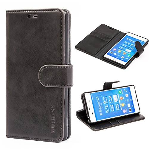 Sony Xperia Z3 Case,Mulbess Leather Case, Flip Folio Book Case, Money Pouch Wallet Cover with Kick Stand for Sony Xperia Z3,Black