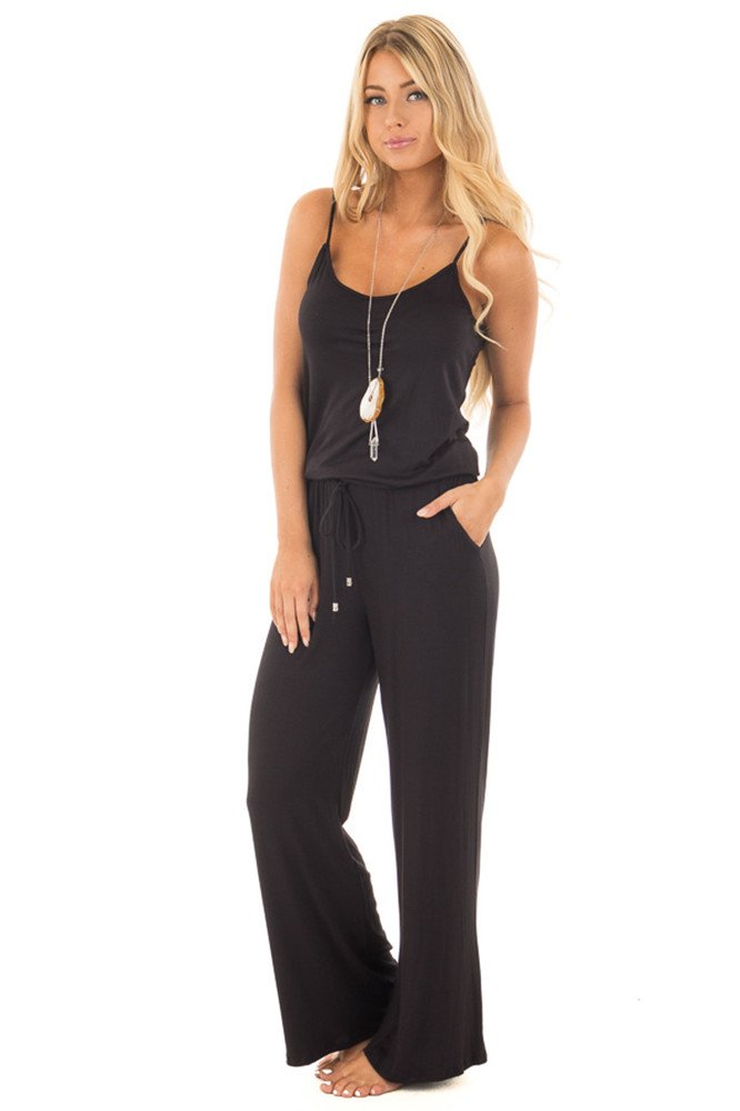 sullcom Women Summer Solid Sleeveless Wide Leg Jumpsuit Casual Spaghetti Strap Stretchy Long Pant Rompers by sullcom (Image #2)